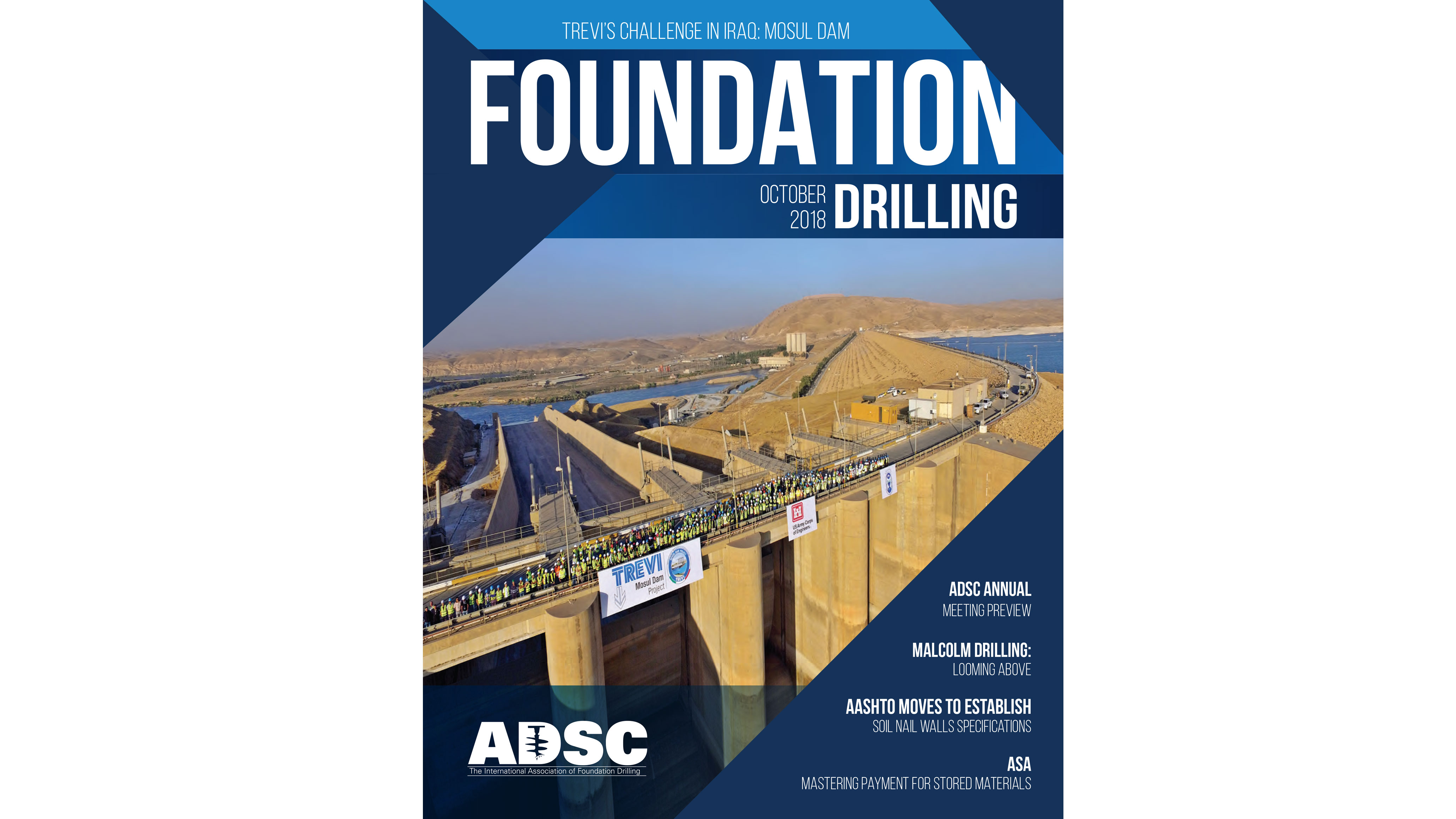 MOSUL JOBSITE ON THE COVER OF ADSC FOUNDATION DRILLING MAGAZINE | News Trevi Group English site 1